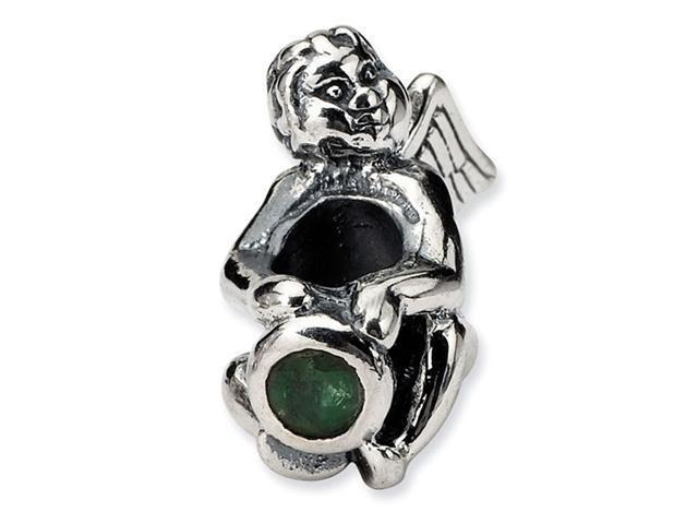 925 Sterling Silver May Green CZ Birthstone Angel Bead