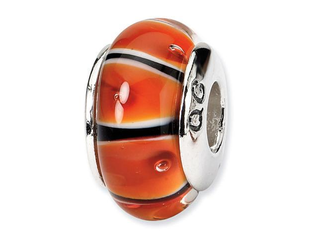 925 Silver Black Orange White Stripe Glass Jewelry Bead