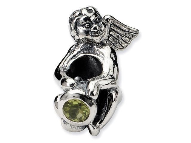 925 Sterling Silver August CZ Birthstone Angel Bead