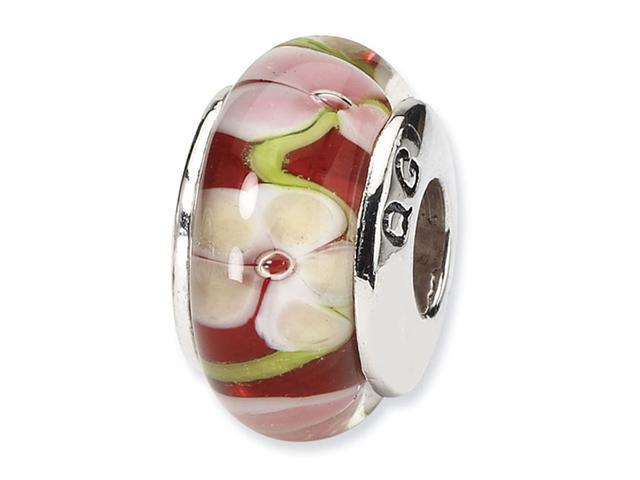 925 Silver Hand Blown Glass Red Green Pink Floral Bead