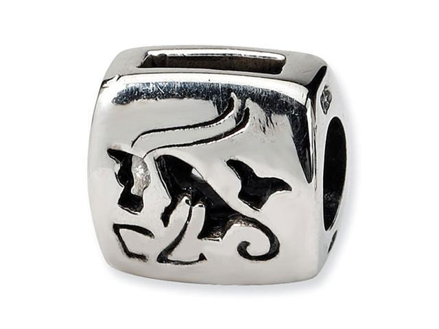 925 Sterling Silver Capricorn Zodiac Goat Antiqued Bead
