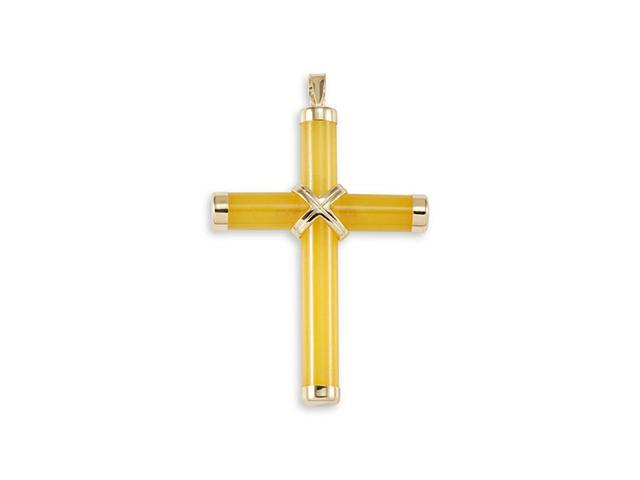 Solid 14k Gold Detailed Cross Yellow Jade Pendant Charm