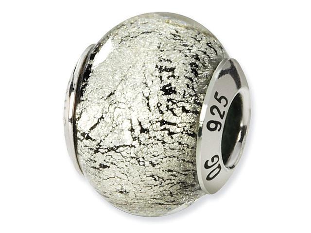 925 Silver Black Crackled Italian Murano Glass Bead
