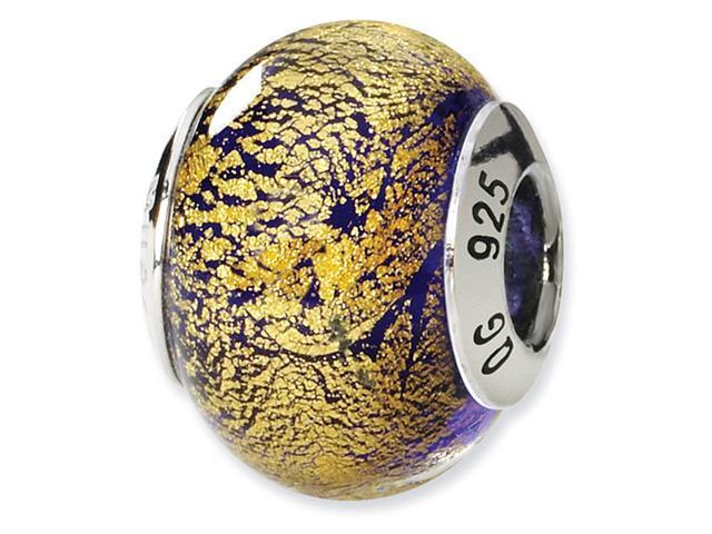 925 Silver Blue Gold Speckled Italian Murano Glass Bead