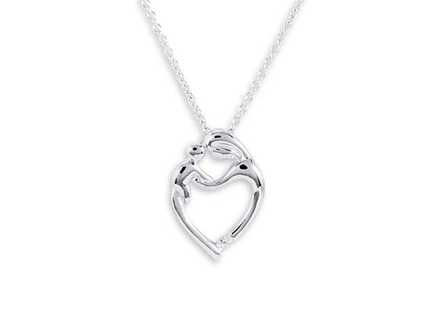 925 Sterling Silver Mother Child Heart Pendant Necklace
