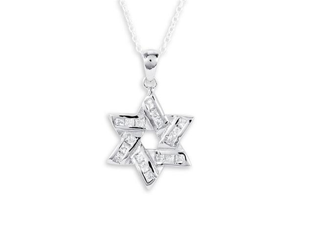 White CZ .925 Sterling Silver Star Of David Pendant