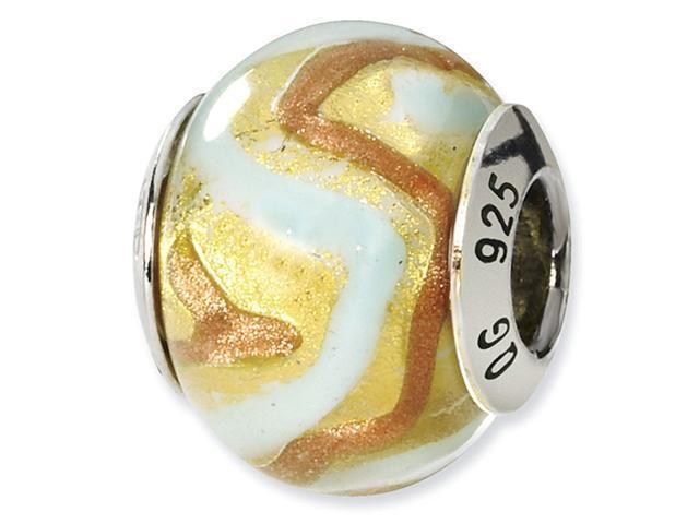 925 Silver Yellow Gold White Italian Murano Glass Bead