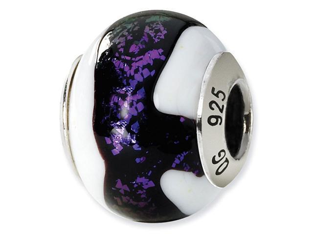 925 Silver White Black Purple Italian Murano Glass Bead