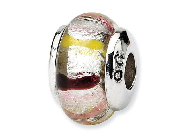 925 Sterling Silver Pink Multicolor Glass Kids Bead