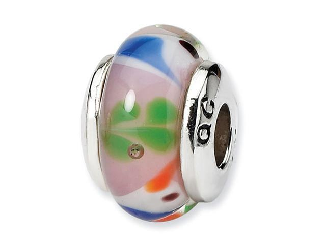 925 Sterling Silver Kids Glass Pink White Bird Bead