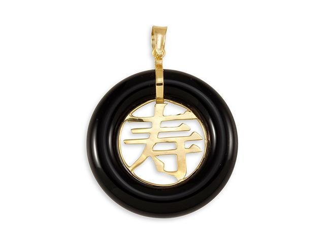 Solid 14k Gold Round Long Life Black Onyx Pendant