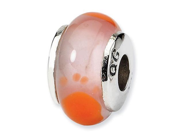 925 Sterling Silver Kids Orange Footprints Glass Bead