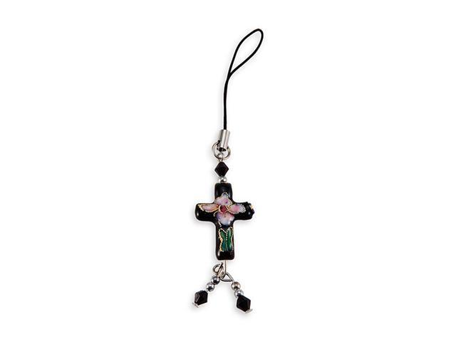 Black Cloisonne Enamel Flower Cross Bead Phone Charm