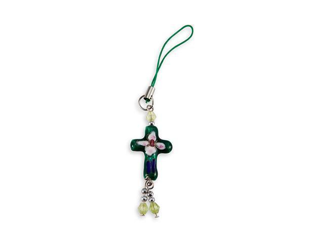 Green Cloisonne Enamel Flower Cross Bead Phone Charm