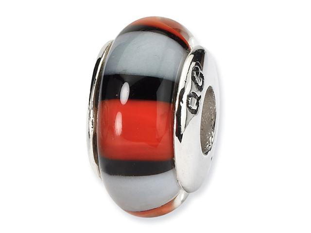 925 Silver Black White Orange Stripe Glass Jewelry Bead