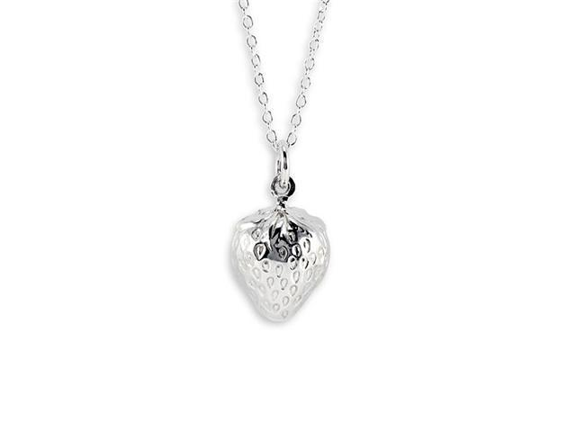New 925 Sterling Silver Strawberry Pendant Necklace