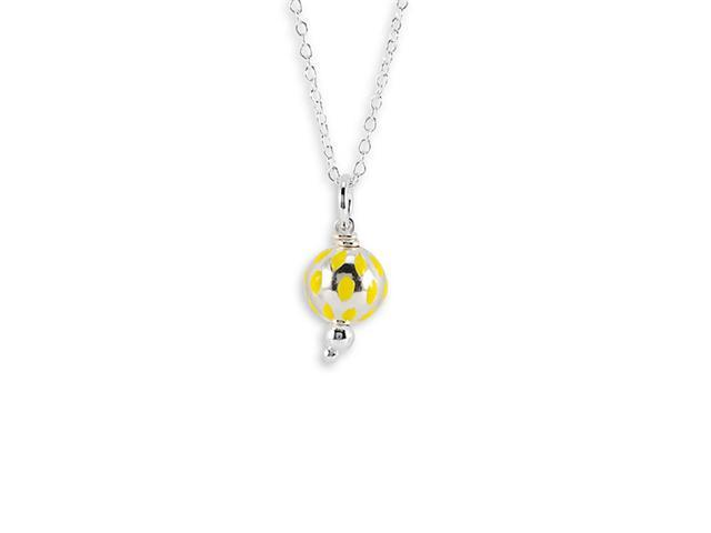 New Yellow .925 Sterling Silver Globe Pendant Necklace