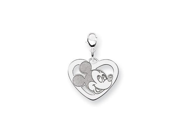 Sterling Silver 3/4 Inch Mickey Mouse Open Heart Charm