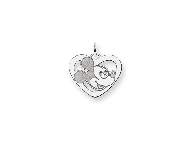 .925 Sterling Silver 3/4 Inch Mickey Mouse Heart Charm