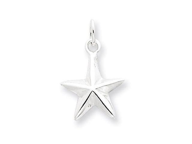 925 Sterling Silver Polished Solid Star Charm Pendant