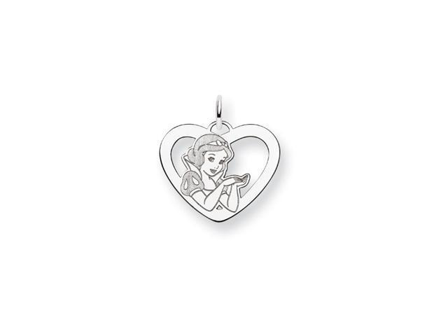.925 Sterling Silver 3/4 Inch Snow White Heart Charm
