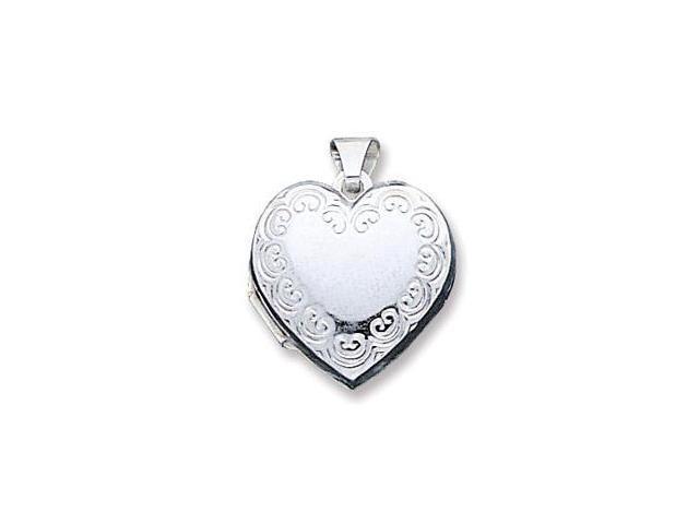 925 Sterling Silver Heart Scroll Charm Locket Pendant
