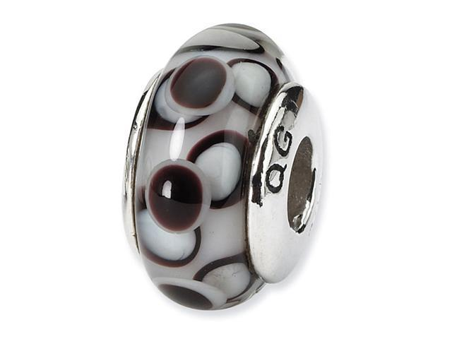 925 Silver Hand Blown Glass Brown White Jewelry Bead