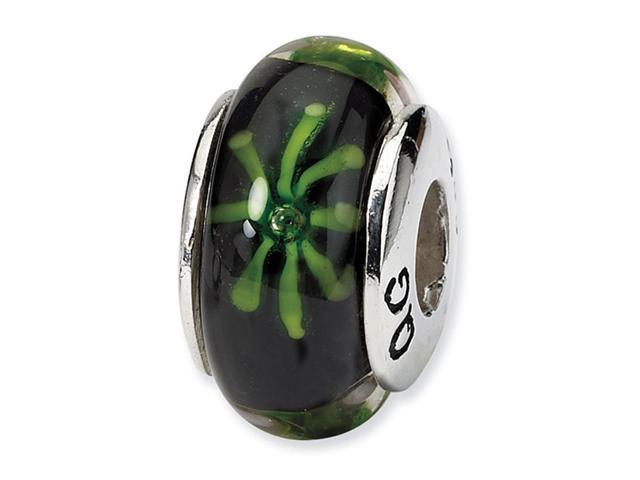 925 Silver Black Green Floral Hand Blown Glass Bead