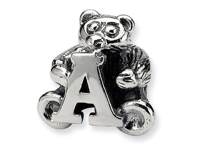 925 Sterling Silver Kids Bear Letter A Alphabet Bead