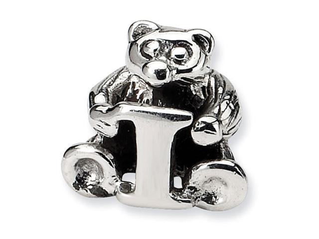 925 Sterling Silver Kids Bear Letter I Alphabet Bead