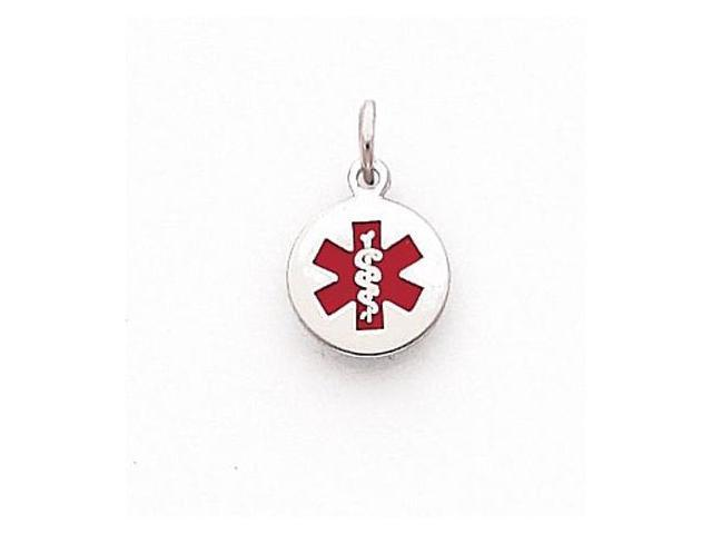 925 Sterling Silver Small Round Medical Alert Pendant