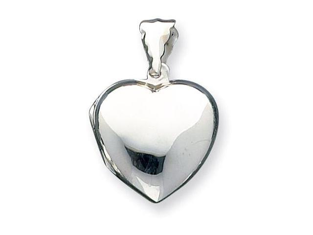 925 Sterling Silver Puffy Heart Polished Locket Pendant