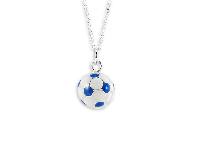 Blue White .925 Sterling Silver Soccer Ball Necklace