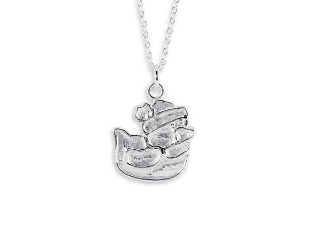 New Duck 925 Sterling Silver Pendant Charm Necklace