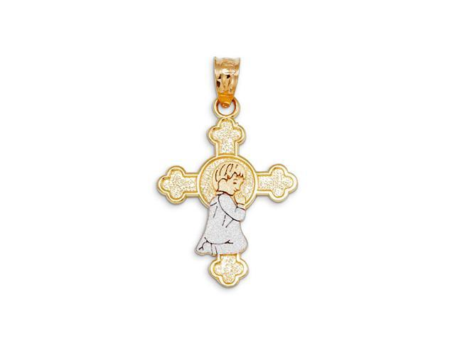 14k Yellow White Gold Praying Boy Budded Cross Pendant