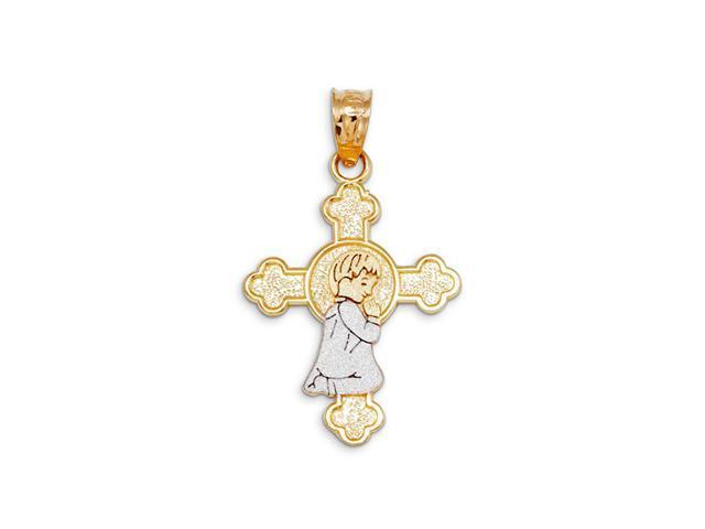 14k Yellow White Gold Praying Boy Budded Cross Pendant