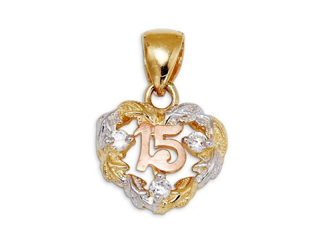 14k Yellow Rose White Gold CZ Heart 15 Charm Pendant