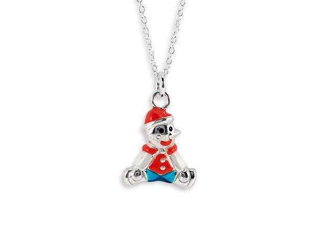 New .925 Sterling Silver Red Clown Pendant Necklace