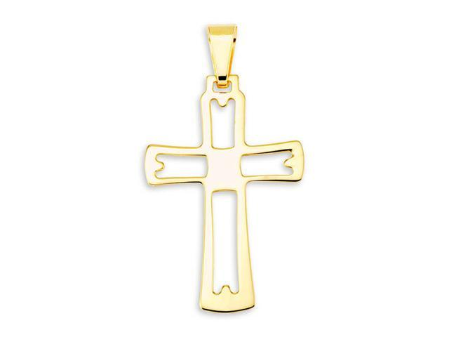 Cut Out 14k Bonded Gold Religious Cross Charm Pendant