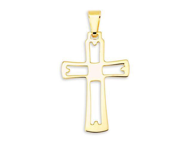 Cut Out 14k Bonded Gold Religious Cross Charm Pendant
