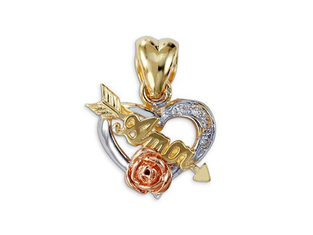 New 14k Yellow White Gold Flower CZ Amor Heart Pendant