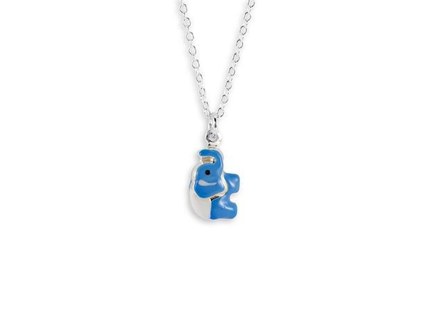 New Blue Enamel .925 Sterling Silver Elephant Necklace
