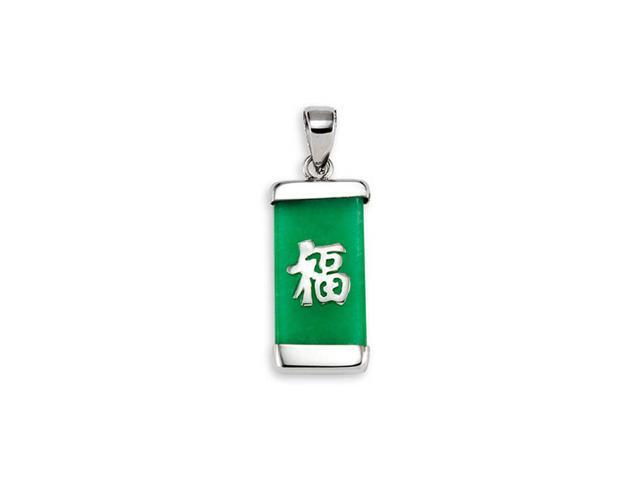 925 Sterling Silver Green Jade Lucky Symbol Pendant