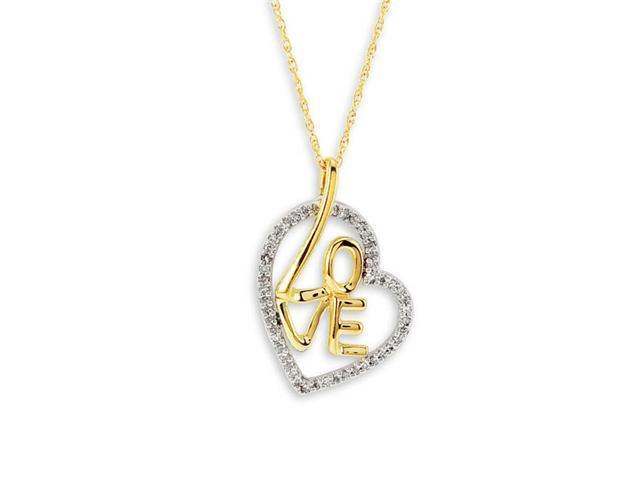 10k Yellow Gold Heart Love Diamond Pendant Necklace