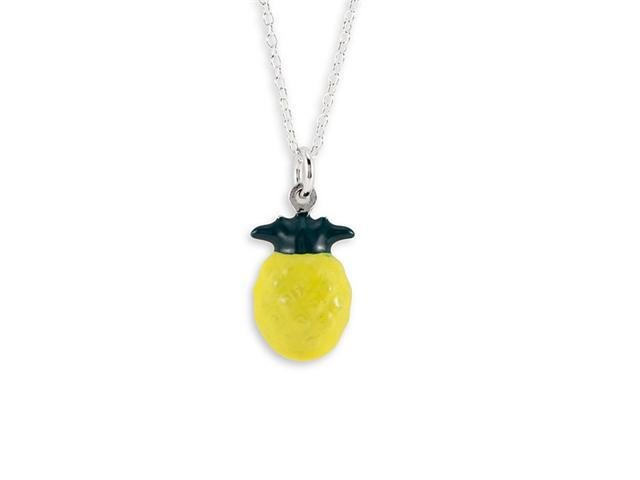 New Sterling Silver Yellow Pineapple Pendant Necklace