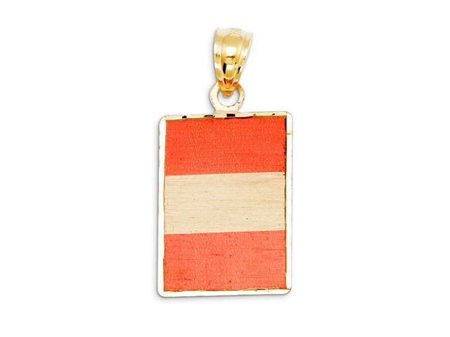 14k Yellow Gold Peru Country Flag Laser Print Pendant