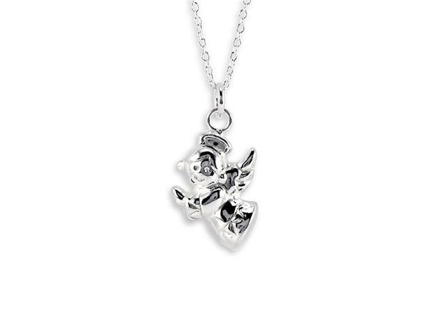 925 Sterling Silver Hollow Angel Charm Pendant Necklace