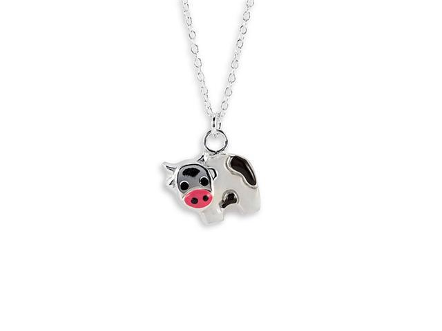 New Sterling Silver Black White Cow Pendant Necklace
