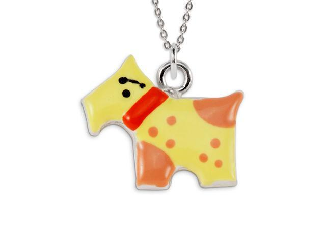.925 Sterling Silver Yellow Red Scotty Dog Pendant