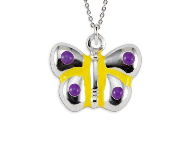 .925 Sterling Silver Purple Yellow Butterfly Pendant